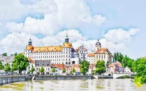 Обои замок, город, Бавария, Германия, Нойбург, акварель, рисунок