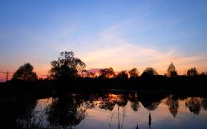 Картинка вода, закат, озеро, весна, розовый закат, русская природа