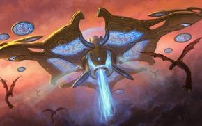 Обои рисунок, корабль, нло, монстр, starcraft 2