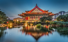Картинка пруд, отражение, здание, Тайвань, Тайбэй, Taiwan, Taipei, Мемориальный зал Чан Кайши, Chiang Kai-shek Memorial Hall, …
