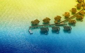 Картинка тропики, океан, курорт, экзотика, бунгало, sunset, lagoon, bora-bora