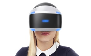 Картинка девушка, блондинка, белый фон, шлем, Sony, PlayStation 4, Playstation VR