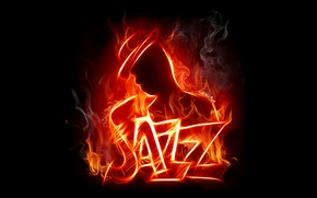 Обои Jazz, силуэт, огонь