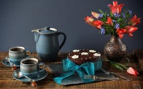 Картинка чай, букет, чашки, тюльпаны, торт, натюрморт, бант, незабудки