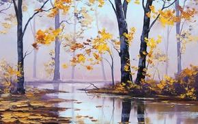 Картинка осень, лес, деревья, природа, река, желтые листья, арт, artsaus