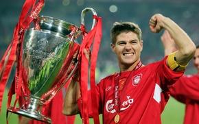 Картинка счастье, медаль, кубок, Ливерпуль, Liverpool, captain, glory, Steven Gerrard, Стивен Джеррард, победитель, UEFA Champions League, …
