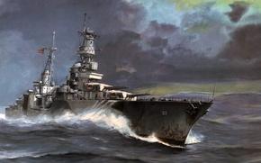 Картинка море, волны, арт, США, Portland, крейсер, Вторая мировая война, тяжёлый, «Портленд», CA-33