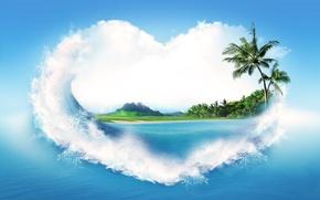 Картинка песок, море, вода, брызги, пальмы, креатив, берег, сердце