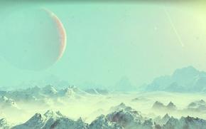 Картинка space, rock, sky, winter, rocks, snow, hills, hill, planet, nms, no mans sky, mounatins, mounatin
