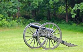 Картинка оружие, колёса, пушка, природа