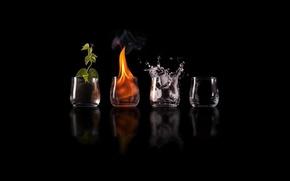 Картинка отражение, земля, бокалы, воздух, элементы, elements, огонь. вода