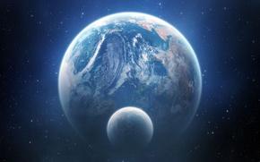 Обои космос, звезды, луна, планета