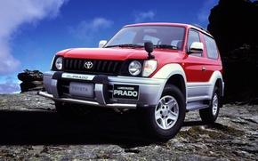 Картинка red, Toyota, land cruiser, prado, J90, 3-doors
