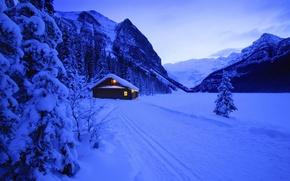 Обои зима, снег, дом, новый год