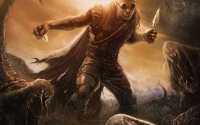 Картинка планета, арт, очки, монстры, мужчина, ножи, Riddick