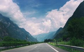 Картинка дорога, небо, облака, горы, трасса, шоссе