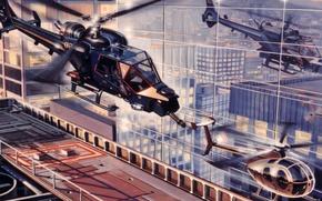Картинка рисунок, арт, вертолёты, Голубой гром