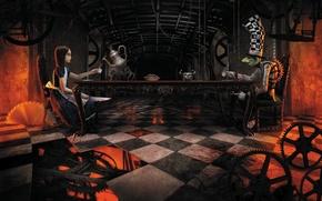 Картинка Алиса, Alice, Шляпник, American McGee's Alice, У циферблата, Mad Hatter, Безумное чаепитие