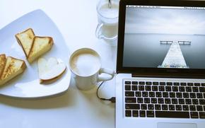 Картинка Apple, еда, ноутбук, MacBook, капучино, выпечка, Pro
