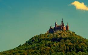 Картинка лес, небо, деревья, стена, башня, гора, Германия, замок Гогенцоллерн