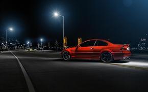 Картинка ночь, красный, бмв, BMW, фонари, red, rear, street, E46, Richard Le