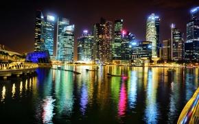 Картинка ночь, город, огни, здания, небоскребы, подсветка, залив, Азия, Сингапур, высотки, высотные, Singapore, Marina Bay