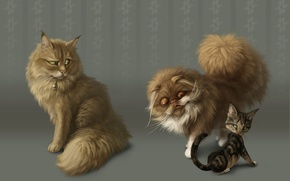 Обои рисунок, фан, кошки