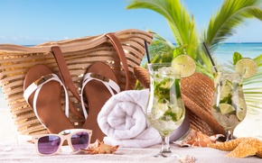 Картинка paradise, vacation, мохито, полотенце, mojito, cocktail, palms, beach, море, summer, tropical, очки, сумка, отдых, пляж, ...