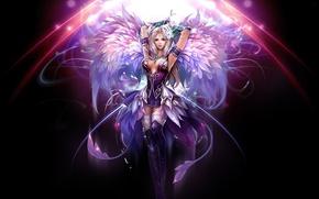 Картинка девушка, темный фон, крылья, фэнтези, арт, perfect world