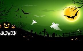 Картинка кладбище, тыквы, ужас, horror, Хэллоуин, призраки, страшно, halloween, полночь, bats, pumpkins, midnight, creepy, full moon, …