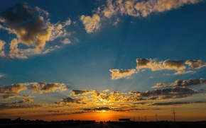 Картинка небо, облака, закат, горизонт