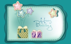 Обои звезды, шарики, день рождения, праздник, подарки, поздравление, банты, happy birthday