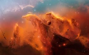 Обои планета, звезды, туманность