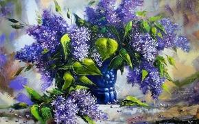 Картинка листья, цветы, букет, картина, ваза, натюрморт, живопись, сирень, фиолет, Ходюков, мастихин