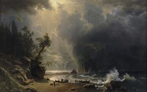 Картинка облака, свет, горы, скалы, берег, волна, лодки, albert bierstadt