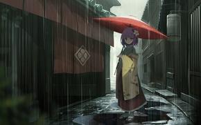 Картинка дождь, дома, зонт, девочка, лужи, кимоно, улочка, Touhou, японская, Touhou Project, Проект Восток, Hieda no …