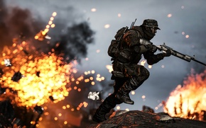 Картинка огонь, бег, солдат, винтовка, экипировка, Battlefield 4