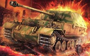 Картинка рисунок, САУ, Фердинанд, Ferdinand, Elefant, 8, немецкая тяжёлая самоходно-артиллерийская установк, 8 cm StuK 43 Sfl …