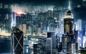 Картинка ночь, город, огни, вечер, Китай, Гон-Конг