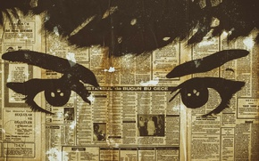 Обои газета, глаза, фон