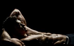 Картинка man, pose, abs, perspiration