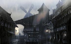 Картинка город, дождь, человек, брусчатка, фонари, колодец, мельница, Skyrim, The Elder Scrolls V, concept atr