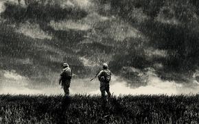 Обои тучи, дождь, война, солдаты, rain, war, solger