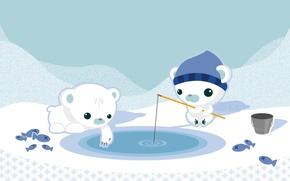 Обои рисунок, медведи, рыбалка, снег