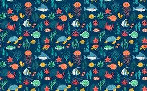 Картинка море, рыбы, черепаха, медуза, акула