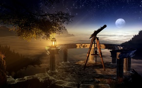 Картинка небо, трава, ночь, дерево, луна, лампа, звёзды, залив, ветвь, телескоп, skygazing
