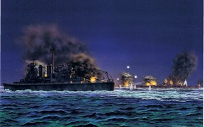 Картинка ночь, рисунок, арт, крейсер, японский, морской бой, WW2, линейный, Гуадалканал, 14 ноября 1942 года, американский …