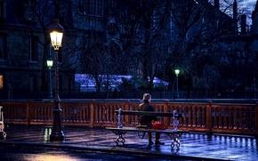 Картинка дорога, скамейка, настроение, Франция, Париж, фонарь, мужчина, сидит