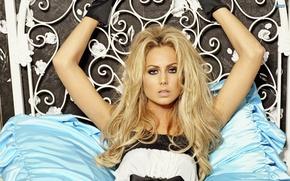 Картинка одежда, Stacy Keibler, блондинки, dress, кровати, Стейси Кейблер