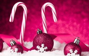Картинка Новый Год, Шарики, Снежинки, Праздники, Бордовый